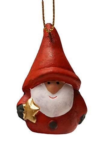 khevga 12er Set Christbaumschmuck aus Terracotta Weihnachtsmann Wichtel rot - Deko-Hänger Weihnachten - 3