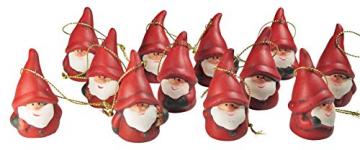 khevga 12er Set Christbaumschmuck aus Terracotta Weihnachtsmann Wichtel rot - Deko-Hänger Weihnachten - 1