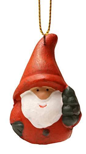 khevga 12er Set Christbaumschmuck aus Terracotta Weihnachtsmann Wichtel rot - Deko-Hänger Weihnachten - 5