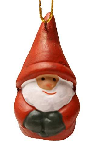 khevga 12er Set Christbaumschmuck aus Terracotta Weihnachtsmann Wichtel rot - Deko-Hänger Weihnachten - 6