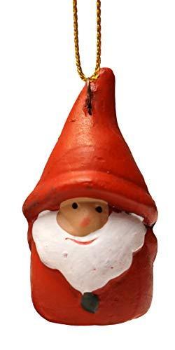 khevga 12er Set Christbaumschmuck aus Terracotta Weihnachtsmann Wichtel rot - Deko-Hänger Weihnachten - 7