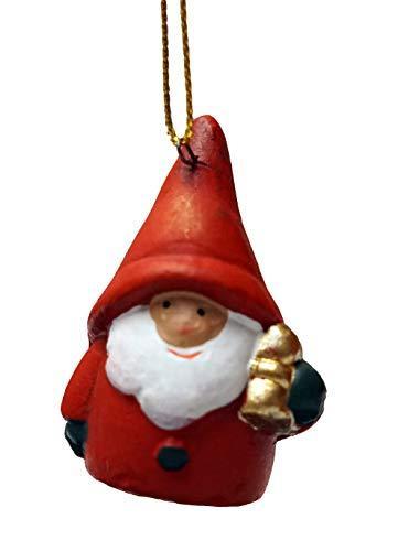 khevga 12er Set Christbaumschmuck aus Terracotta Weihnachtsmann Wichtel rot - Deko-Hänger Weihnachten - 8