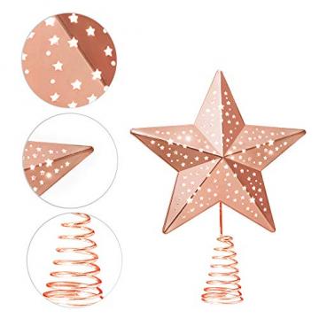KPCB Weihnachtsbaum Stern,Christbaumspitze Stern Tannenbaum Spitze Mehrfarben LED für Feiertags-Dekorationen - 4