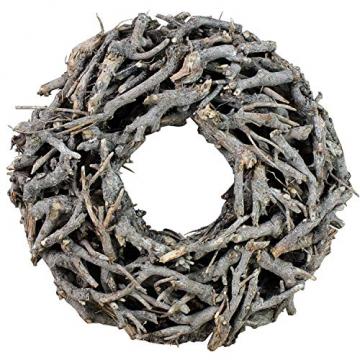 Kranz aus Zweigen Ø 50cm Vintage Weiss grau rund Wurzelkranz - 1