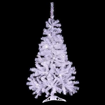 künstlicher Weihnachtsbaum weiß mit Glitzereffekt Christbaum Tannenbaum 120 cm mit Ständer zzgl. 100 LED Lichterkette warmweiß Weihnachtsdeko - 2