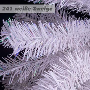 künstlicher Weihnachtsbaum weiß mit Glitzereffekt Christbaum Tannenbaum 120 cm mit Ständer zzgl. 100 LED Lichterkette warmweiß Weihnachtsdeko - 3
