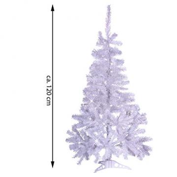 künstlicher Weihnachtsbaum weiß mit Glitzereffekt Christbaum Tannenbaum 120 cm mit Ständer zzgl. 100 LED Lichterkette warmweiß Weihnachtsdeko - 7