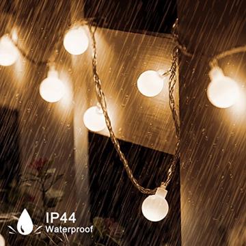 Kugel Lichterkette Batterie 6M 40LED mit 8 Modi Silberdraht Wasserdicht Weihnachtsbeleuchtung außen innen für Schlafzimmer Gläser Camping Hochzeitsfeier Festival Baumschmuck (Warmweiß) - 4