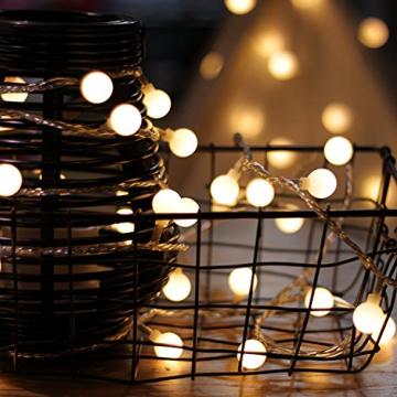 Kugel Lichterkette Batterie 6M 40LED mit 8 Modi Silberdraht Wasserdicht Weihnachtsbeleuchtung außen innen für Schlafzimmer Gläser Camping Hochzeitsfeier Festival Baumschmuck (Warmweiß) - 5