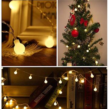 Kugel Lichterkette Batterie 6M 40LED mit 8 Modi Silberdraht Wasserdicht Weihnachtsbeleuchtung außen innen für Schlafzimmer Gläser Camping Hochzeitsfeier Festival Baumschmuck (Warmweiß) - 6