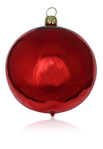 Lauschaer Glas Kugeln rot Glanz 4 Stück d 10cm Christbaumschmuck Weihnachtsschmuck mundgeblasen,handdekoriert Original (rot Glanz) - 1