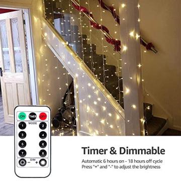 LE Lichtervorhang 3 * 3m, Lichterketten Vorhang 300 LEDs Warmweiß mit Haken und Anhänger, 8 Modi Dimmbar Kupferdraht, Lichterkette mit Stecker für Party Weihnachten Außen Innen Schlafzimmer Deko - 3