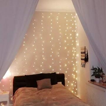 LE Lichtervorhang 3 * 3m, Lichterketten Vorhang 300 LEDs Warmweiß mit Haken und Anhänger, 8 Modi Dimmbar Kupferdraht, Lichterkette mit Stecker für Party Weihnachten Außen Innen Schlafzimmer Deko - 1