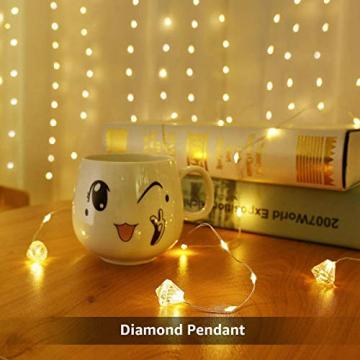 LE Lichtervorhang 3 * 3m, Lichterketten Vorhang 300 LEDs Warmweiß mit Haken und Anhänger, 8 Modi Dimmbar Kupferdraht, Lichterkette mit Stecker für Party Weihnachten Außen Innen Schlafzimmer Deko - 5