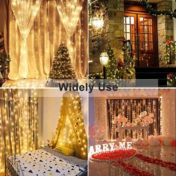 LE Lichtervorhang 3 * 3m, Lichterketten Vorhang 300 LEDs Warmweiß mit Haken und Anhänger, 8 Modi Dimmbar Kupferdraht, Lichterkette mit Stecker für Party Weihnachten Außen Innen Schlafzimmer Deko - 6
