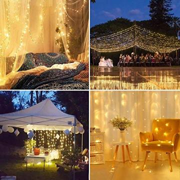 LE Lichtervorhang 3 * 3m, Lichterketten Vorhang 300 LEDs Warmweiß mit Haken und Anhänger, 8 Modi Dimmbar Kupferdraht, Lichterkette mit Stecker für Party Weihnachten Außen Innen Schlafzimmer Deko - 9