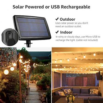 LE Solar Lichterkette Glühbirnen Aussen, 7.62M 25 LEDs G40 Außen Beleuchtung, USB wiederaufladbar, 4 Modus Solarlichterkette für Garten, Hochzeit, Balkon, Haus, Weihnachten Deko, Warmweiß - 2