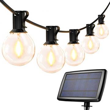 LE Solar Lichterkette Glühbirnen Aussen, 7.62M 25 LEDs G40 Außen Beleuchtung, USB wiederaufladbar, 4 Modus Solarlichterkette für Garten, Hochzeit, Balkon, Haus, Weihnachten Deko, Warmweiß - 1