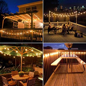 LE Solar Lichterkette Glühbirnen Aussen, 7.62M 25 LEDs G40 Außen Beleuchtung, USB wiederaufladbar, 4 Modus Solarlichterkette für Garten, Hochzeit, Balkon, Haus, Weihnachten Deko, Warmweiß - 5