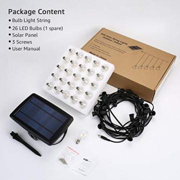 LE Solar Lichterkette Glühbirnen Aussen, 7.62M 25 LEDs G40 Außen Beleuchtung, USB wiederaufladbar, 4 Modus Solarlichterkette für Garten, Hochzeit, Balkon, Haus, Weihnachten Deko, Warmweiß - 6