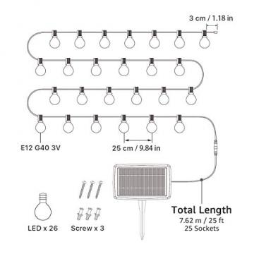 LE Solar Lichterkette Glühbirnen Aussen, 7.62M 25 LEDs G40 Außen Beleuchtung, USB wiederaufladbar, 4 Modus Solarlichterkette für Garten, Hochzeit, Balkon, Haus, Weihnachten Deko, Warmweiß - 7