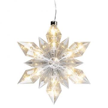LED-Eiskristall | Stern | 23 x 20 cm | 25 LED-Lämpchen | warmweiß | indoor | transparent, klar | mit Timer-Funktion (6 Stunden AN | 18 Stunden AUS) | Fenster-Deko zu Weihnachten - 2