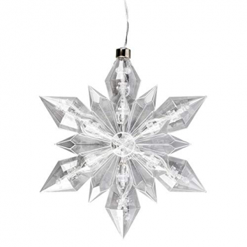 LED-Eiskristall | Stern | 23 x 20 cm | 25 LED-Lämpchen | warmweiß | indoor | transparent, klar | mit Timer-Funktion (6 Stunden AN | 18 Stunden AUS) | Fenster-Deko zu Weihnachten - 3