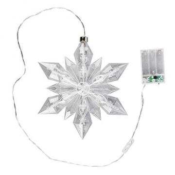 LED-Eiskristall | Stern | 23 x 20 cm | 25 LED-Lämpchen | warmweiß | indoor | transparent, klar | mit Timer-Funktion (6 Stunden AN | 18 Stunden AUS) | Fenster-Deko zu Weihnachten - 1