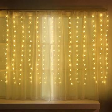 LED Fenster Vorhang Lichter, Foto Hintergrund Lichter Warmweiße Twinkle Lichterketten mit Fernbedienung für Hochzeitsfeier Schlafzimmer Wand Weihnachten 6,5 x 5 ft - 4