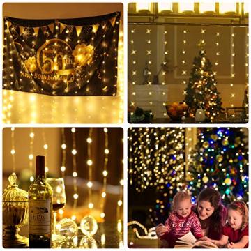 LED Fenster Vorhang Lichter, Foto Hintergrund Lichter Warmweiße Twinkle Lichterketten mit Fernbedienung für Hochzeitsfeier Schlafzimmer Wand Weihnachten 6,5 x 5 ft - 5