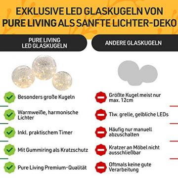 LED Glaskugel 3er Set - Exklusive Größe, Warmweiß, inkl. Timer und Kratzschutz - 10, 12 und 15cm LED Kugeln batteriebetrieben - Harmonische LED Leuchtkugeln als einzigartige Dekoration - 2