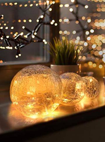 LED Glaskugel 3er Set - Exklusive Größe, Warmweiß, inkl. Timer und Kratzschutz - 10, 12 und 15cm LED Kugeln batteriebetrieben - Harmonische LED Leuchtkugeln als einzigartige Dekoration - 1