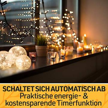 LED Glaskugel 3er Set - Exklusive Größe, Warmweiß, inkl. Timer und Kratzschutz - 10, 12 und 15cm LED Kugeln batteriebetrieben - Harmonische LED Leuchtkugeln als einzigartige Dekoration - 6