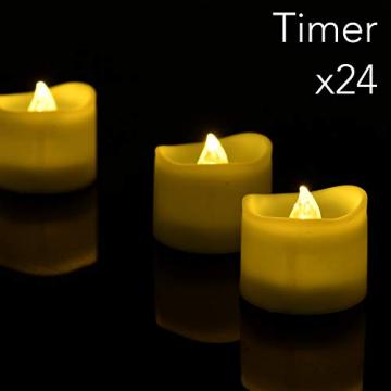 LED Kerzen, Linkbro LED Tee Lichter flammenlose Kerzen mit Timer, Automatikmodus: 6 Stunden an und 18 Stunden aus, 3.2x3.6 cm, [24 Stück, Warm-weiß] - 2