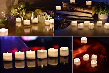 LED Kerzen, Linkbro LED Tee Lichter flammenlose Kerzen mit Timer, Automatikmodus: 6 Stunden an und 18 Stunden aus, 3.2x3.6 cm, [24 Stück, Warm-weiß] - 3