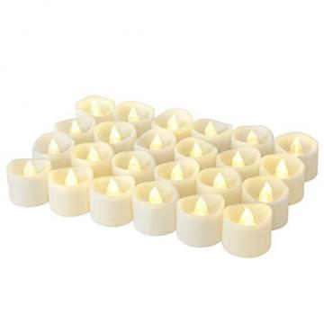 LED Kerzen, Linkbro LED Tee Lichter flammenlose Kerzen mit Timer, Automatikmodus: 6 Stunden an und 18 Stunden aus, 3.2x3.6 cm, [24 Stück, Warm-weiß] - 1