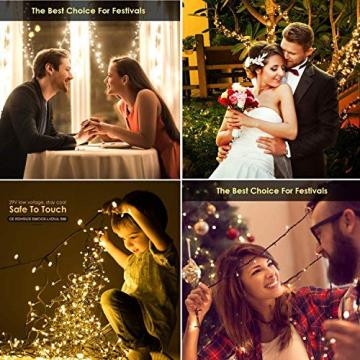 Led Lichterkette Strom 30M 300 LED mit Fernbedienung Timer Merkfunktion Lichterkette Steckdose IP65 Wasserdicht für Innen und Außen,Niederspannung, Warmweiß Lichterkette für Party, Weihnachten, Garten - 4