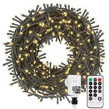 Led Lichterkette Strom 30M 300 LED mit Fernbedienung Timer Merkfunktion Lichterkette Steckdose IP65 Wasserdicht für Innen und Außen,Niederspannung, Warmweiß Lichterkette für Party, Weihnachten, Garten - 1