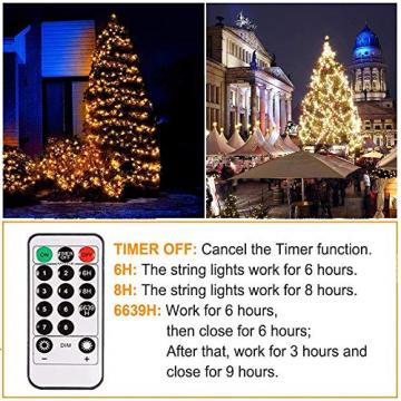 Led Lichterkette Strom 30M 300 LED mit Fernbedienung Timer Merkfunktion Lichterkette Steckdose IP65 Wasserdicht für Innen und Außen,Niederspannung, Warmweiß Lichterkette für Party, Weihnachten, Garten - 5