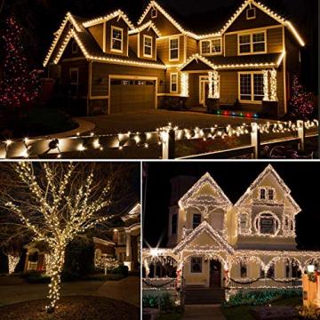 Led Lichterkette Strom 30M 300 LED mit Fernbedienung Timer Merkfunktion Lichterkette Steckdose IP65 Wasserdicht für Innen und Außen,Niederspannung, Warmweiß Lichterkette für Party, Weihnachten, Garten - 7