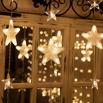 Led Lichterketten, 80 Sterne 144 Leds 2mx1.5m Anschließbar Sternenvorhang mit 8 Modi Fernbedienung fensterlichterketten weihnachten Weihnachtsbeleuchtung für Fenster Dekorat - 2