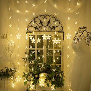 Led Lichterketten, 80 Sterne 144 Leds 2mx1.5m Anschließbar Sternenvorhang mit 8 Modi Fernbedienung fensterlichterketten weihnachten Weihnachtsbeleuchtung für Fenster Dekorat - 5