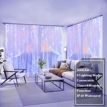 LED Lichterketten Lichtervorhang 300 LEDs USB Vorhanglichter 8 Modi Mit ferngesteuertem Timer, IP65 wasserdichte , Geeignet für Schlafzimmer, Fenster, Weihnachten, Party, Hochzeit, kühles Weiß - 2