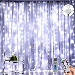 LED Lichterketten Lichtervorhang 300 LEDs USB Vorhanglichter 8 Modi Mit ferngesteuertem Timer, IP65 wasserdichte , Geeignet für Schlafzimmer, Fenster, Weihnachten, Party, Hochzeit, kühles Weiß - 1