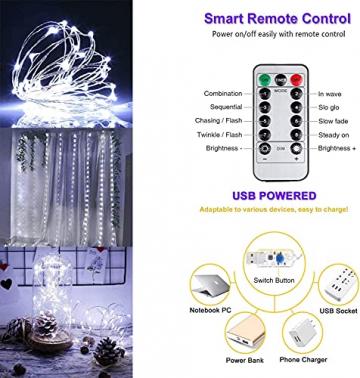 LED Lichterketten Lichtervorhang 300 LEDs USB Vorhanglichter 8 Modi Mit ferngesteuertem Timer, IP65 wasserdichte , Geeignet für Schlafzimmer, Fenster, Weihnachten, Party, Hochzeit, kühles Weiß - 6