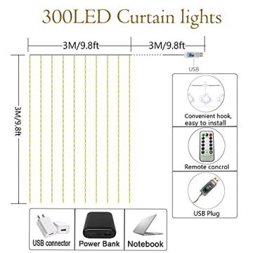LED Lichterketten Lichtervorhang 300 LEDs USB Vorhanglichter 8 Modi Mit ferngesteuertem Timer, IP65 wasserdichte , Geeignet für Schlafzimmer, Fenster, Weihnachten, Party, Hochzeit, kühles Weiß - 7