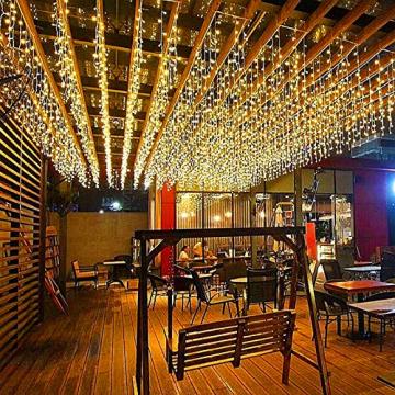 LED Lichtervorhang, 6m * 1m 300 Led PECCIDER 8 Modi Lichterkette Eisregen Vorhang strombetrieben,Lichterkette außen&innen, Hochzeit Weihnachten Party (Warmweiß) - 2