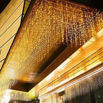 LED Lichtervorhang, 6m * 1m 300 Led PECCIDER 8 Modi Lichterkette Eisregen Vorhang strombetrieben,Lichterkette außen&innen, Hochzeit Weihnachten Party (Warmweiß) - 1