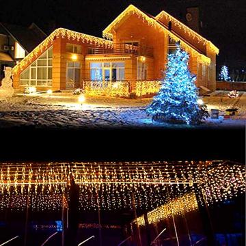 LED Lichtervorhang, 6m * 1m 300 Led PECCIDER 8 Modi Lichterkette Eisregen Vorhang strombetrieben,Lichterkette außen&innen, Hochzeit Weihnachten Party (Warmweiß) - 6