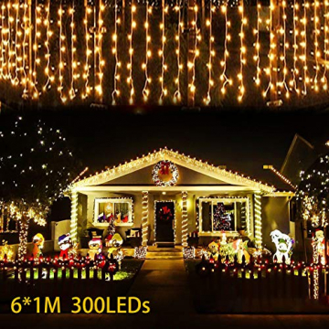LED Lichtervorhang, 6m * 1m 300 Led PECCIDER 8 Modi Lichterkette Eisregen Vorhang strombetrieben,Lichterkette außen&innen, Hochzeit Weihnachten Party (Warmweiß) - 7